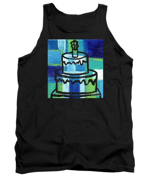 Stl250 Birthday Cake Blue And Green Small Abstract Tank Top by Genevieve Esson