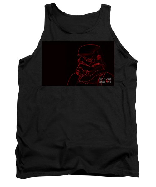 Tank Top featuring the digital art Stormtrooper In Red by Chris Thomas