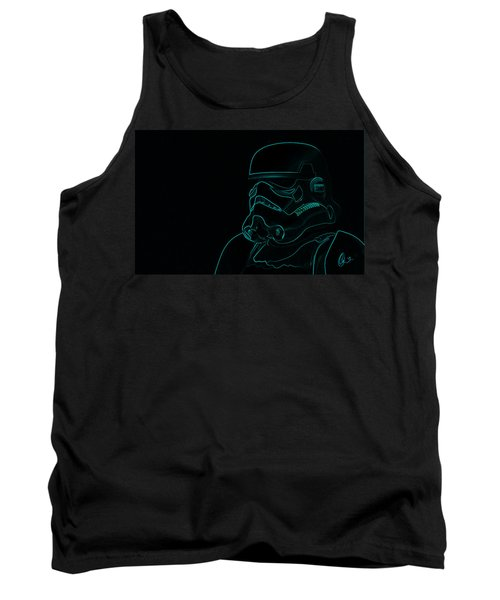 Tank Top featuring the digital art Stormtrooper In Teal by Chris Thomas