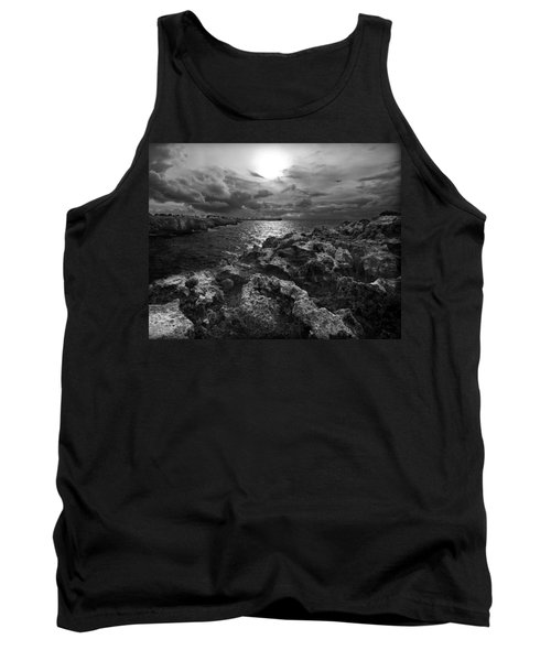 Blank And White Stormy Mediterranean Sunrise In Contrast With Black Rocks And Cliffs In Menorca  Tank Top by Pedro Cardona