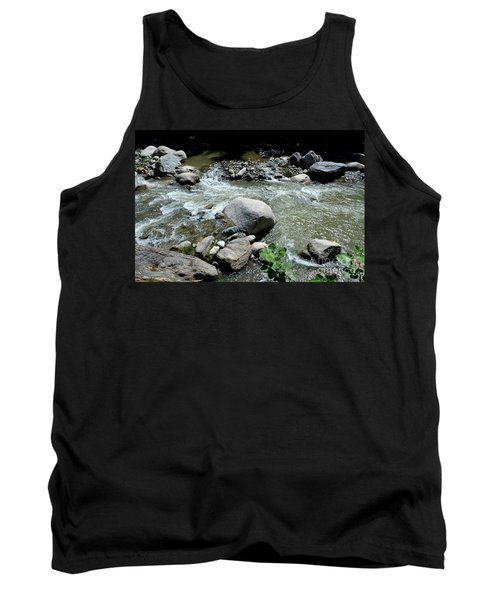 Tank Top featuring the photograph Stream Water Foams And Rushes Past Boulders by Imran Ahmed