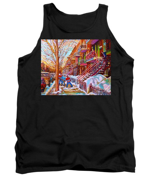 Street Hockey Game In Montreal Winter Scene With Winding Staircases Painting By Carole Spandau Tank Top