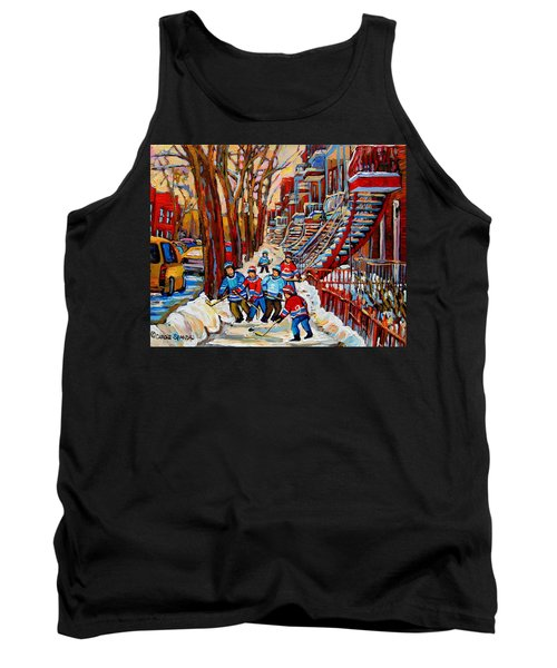 Streets Of Verdun Hockey Art Montreal Street Scene With Outdoor Winding Staircases Tank Top