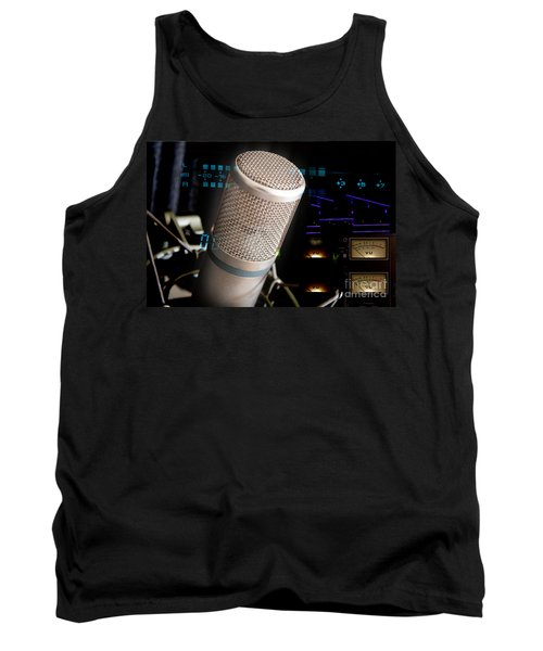 Tank Top featuring the photograph Studio Microphone And Recording Gear by Gunter Nezhoda