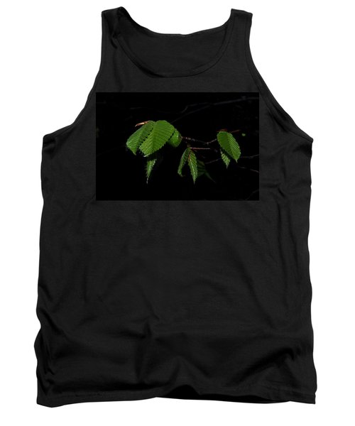 Summer Leaves On Black Tank Top