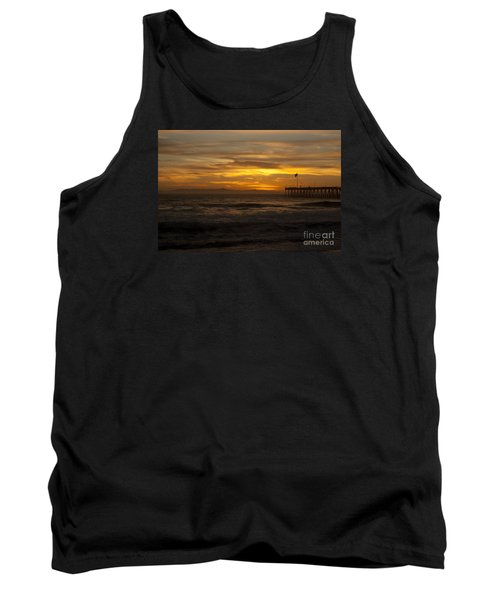 Sun Setting Behind Santa Cruz With Ventura Pier 01-10-2010 Tank Top by Ian Donley
