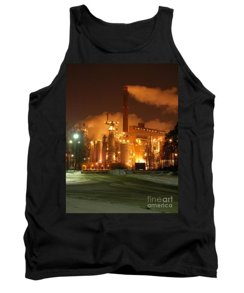 Sunila Pulp Mill By Winter Night Tank Top