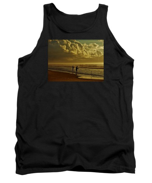 Tank Top featuring the photograph Sunrise Surf Fishing by Ed Sweeney