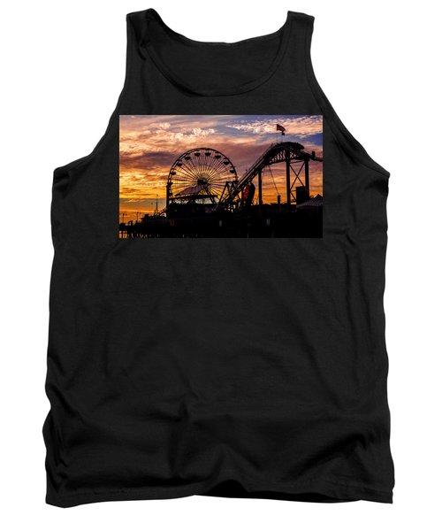 Sunset Amusement Park Farris Wheel On The Pier Fine Art Photography Print Tank Top