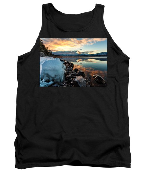 Tank Top featuring the photograph Sunset Frozen by Aaron Aldrich