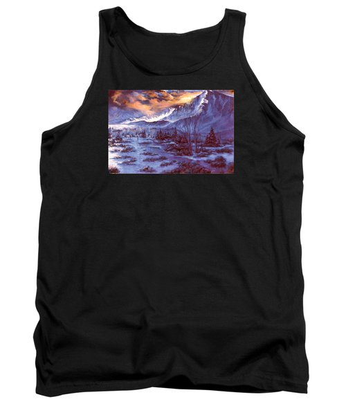 Tank Top featuring the painting Sunset Indian Village by Donna Tucker