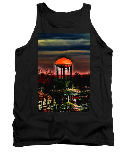 Sunset On A Charlotte Water Tower By Diana Sainz Tank Top
