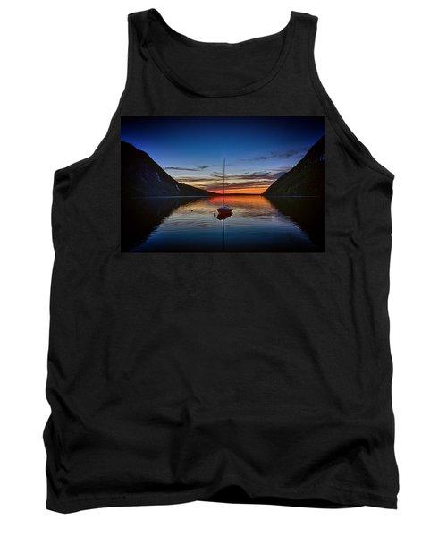 Sunset On Lake Willoughby Tank Top by John Haldane
