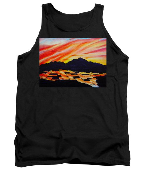 Tank Top featuring the painting Sunset On Rice Fields by Michele Myers