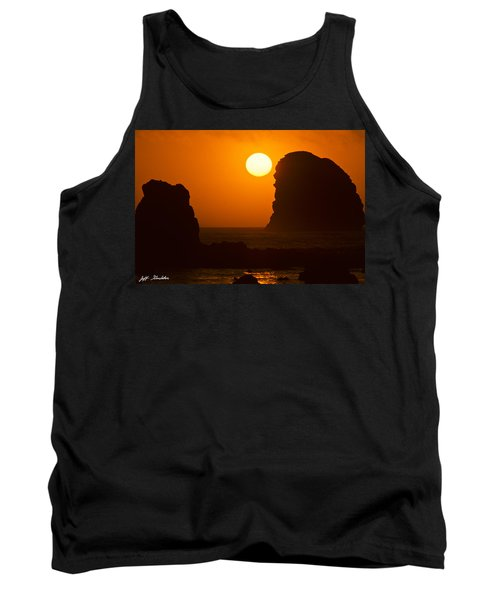 Tank Top featuring the photograph Sunset Over The Pacific Ocean With Rock Stacks by Jeff Goulden