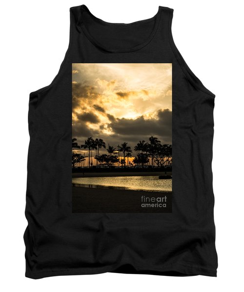 Sunset Over Waikiki Tank Top by Angela DeFrias