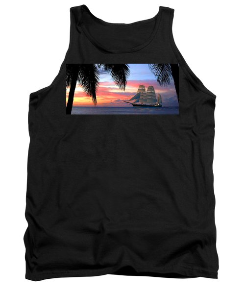 Sunset Sailboat Filtered Tank Top