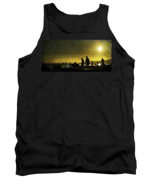 Tank Top featuring the photograph Sunset Silhouette Of People At The Beach by Peter v Quenter