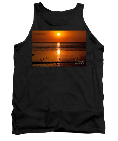 Tank Top featuring the photograph Sunset With The Birds Photo by Meg Rousher