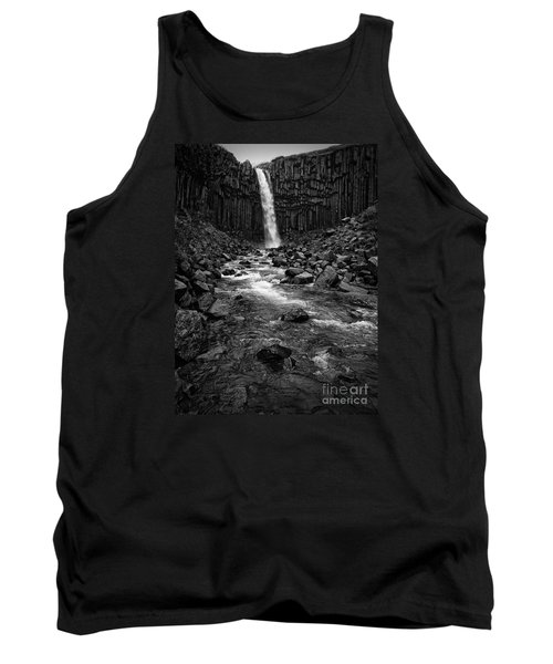 Svartifoss Waterfall In Black And White Tank Top by IPics Photography