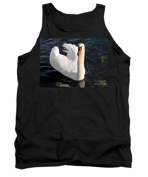 Swan With A Golden Neck Tank Top by Susan Wiedmann