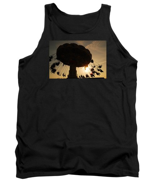 Tank Top featuring the photograph Swing Ride At Sunset by James Kirkikis