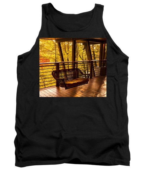 Swinging In Autumn Trees Original Photograph Tank Top by Jerry Cowart