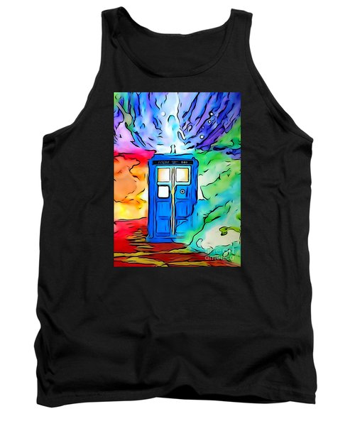 Tank Top featuring the drawing Tardis Illustration Edition by Justin Moore