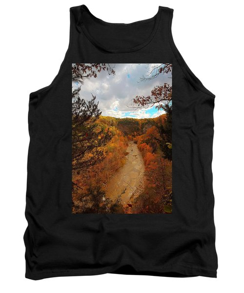 Tank Top featuring the painting Taughannock River Canyon In Colorful Fall Ithaca New York IIi by Paul Ge