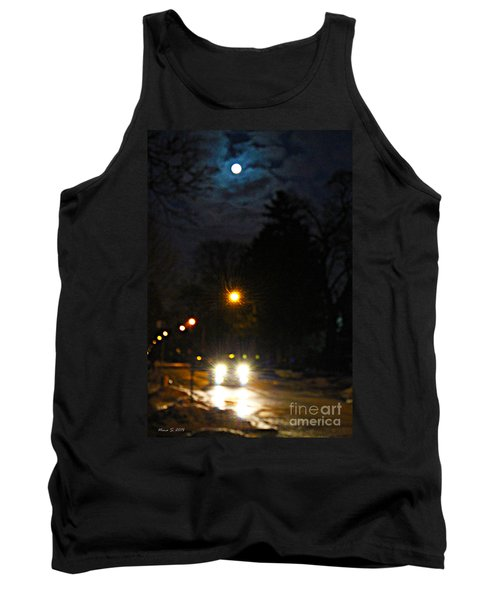 Tank Top featuring the photograph Taxi In Full Moon by Nina Silver