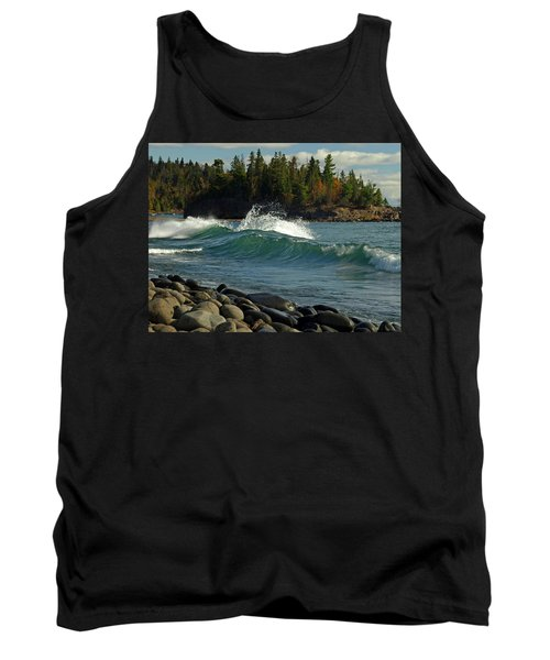 Teal Blue Waves Tank Top by Melissa Peterson
