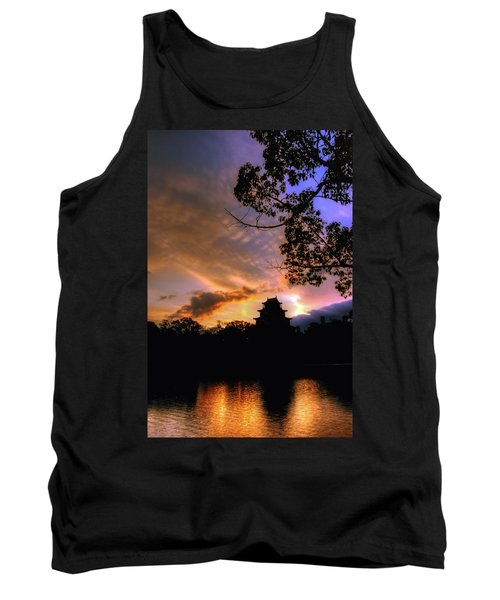 A Temple Sunset Japan Tank Top by John Swartz