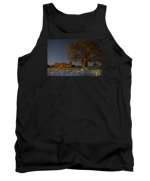 Tank Top featuring the photograph Texas Blue Bonnets At Night by Keith Kapple