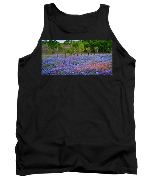 Tank Top featuring the photograph Texas Roadside Heaven -bluebonnets Paintbrush Wildflowers Landscape by Jon Holiday