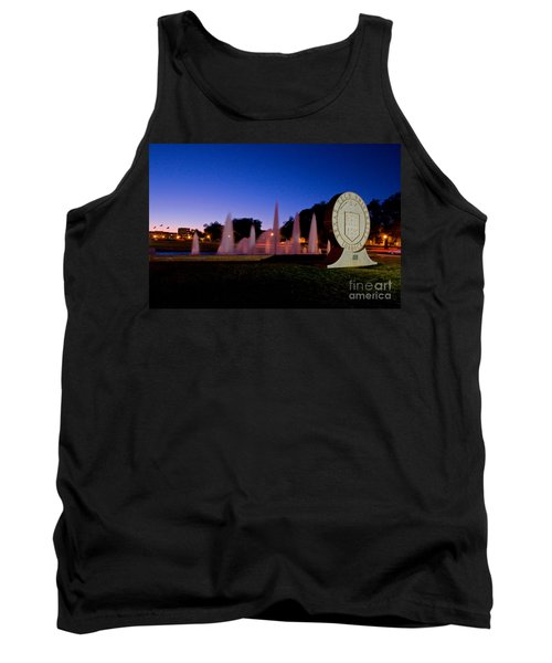 Tank Top featuring the photograph Texas Tech University Seal And Blue Sky by Mae Wertz