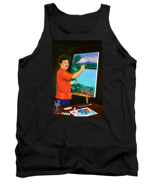Tank Top featuring the painting The Artist by Cyril Maza