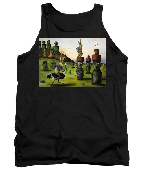 The Battle Over Easter Island Tank Top by Leah Saulnier The Painting Maniac