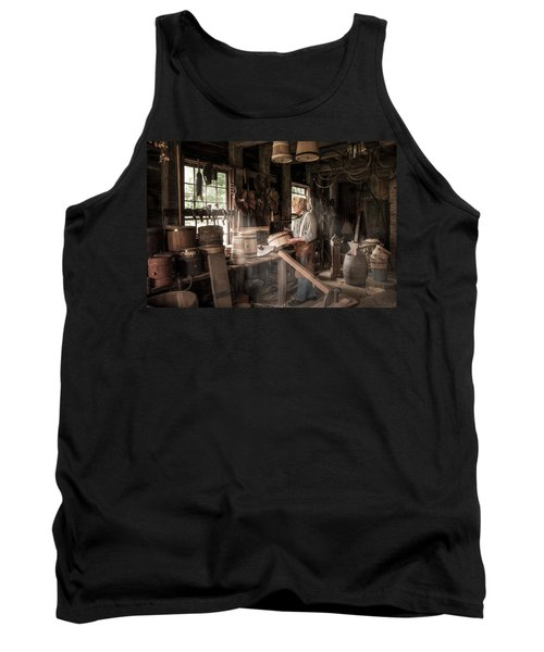 Tank Top featuring the photograph The Cooper - 19th Century Artisan In His Workshop  by Gary Heller