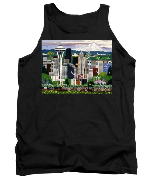 Tank Top featuring the painting The Emerald City Seattle by Jennifer Lake