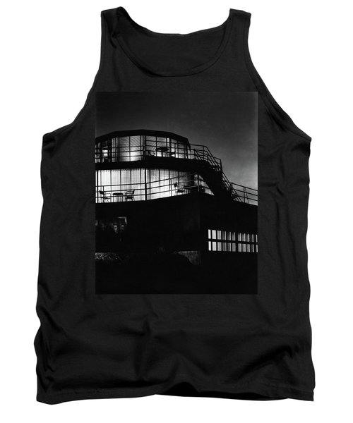 The Exterior Of A Spiral House Design At Night Tank Top