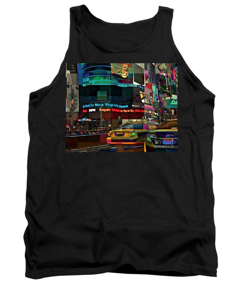 The Fluidity Of Light - Times Square Tank Top by Miriam Danar