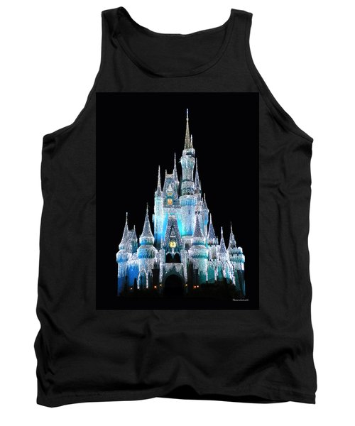 The Magic Kingdom Castle In Frosty Light Blue Walt Disney World Tank Top by Thomas Woolworth