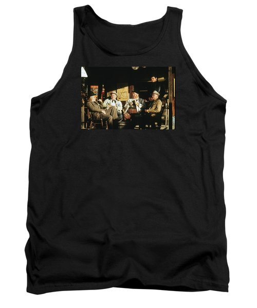 Tank Top featuring the photograph The Over The Hill Gang  Johnny Cash Porch Old Tucson Arizona 1971 by David Lee Guss