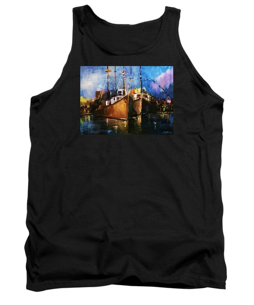 Tank Top featuring the painting The Pier At Sunset by Al Brown