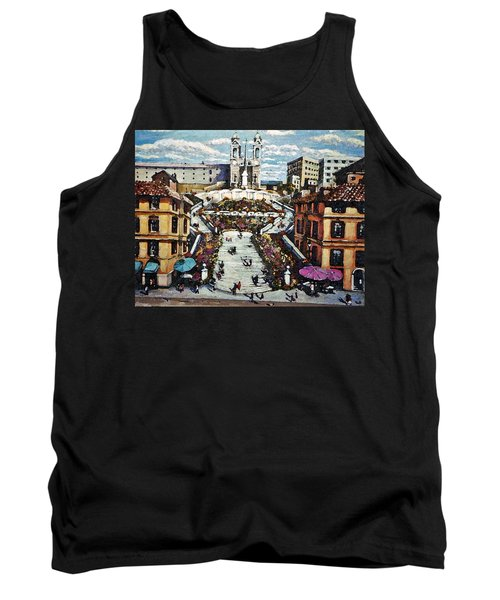 Tank Top featuring the painting The Spanish Steps by Rita Brown