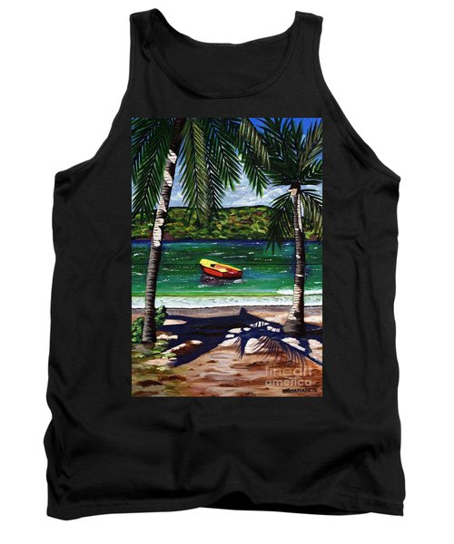 Tank Top featuring the painting The Yellow And Red Boat by Laura Forde