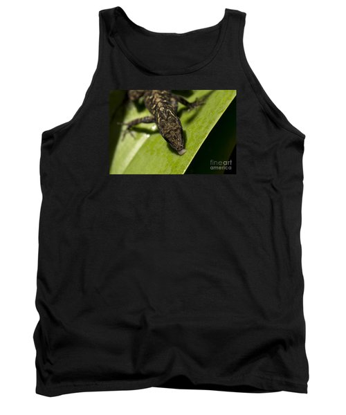 Tank Top featuring the photograph Thirsty Brown Anole by Meg Rousher