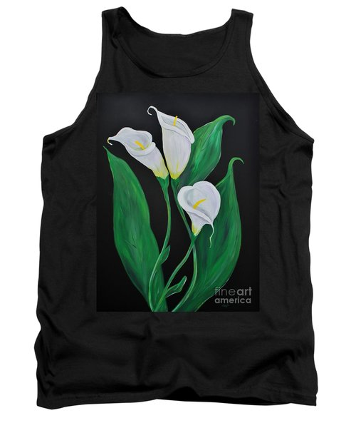 Tank Top featuring the painting Three Calla Lilies On Black by Janice Rae Pariza