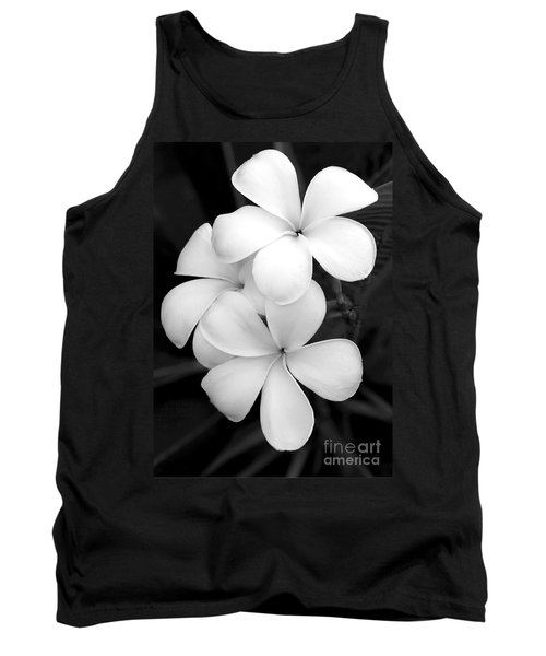 Three Plumeria Flowers In Black And White Tank Top