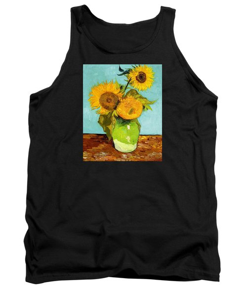 Three Sunflowers In A Vase Tank Top by Vincent Van Gogh